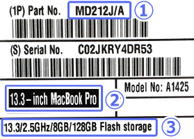 Mac型番、スペックの記載場所例