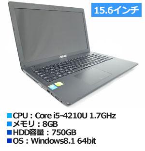 ASUS X552LDV (X552LDV-BLACK) Win8.1 (X552LDV-BLACK) ブラック 15.6インチ プロセッサ:Core i5-4210U 1.7GHz メモリ:8GB ストレージ:750GB HDD  Windows8.1 64bit