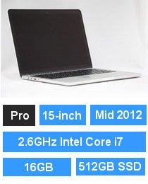 MacBook Pro (Retina・15-inch・Mid 2012) プロセッサ:2.6GHz Intel Core i7/メモリ:16GB/ストレージ:512GB SSD (MC976J/A BTO)