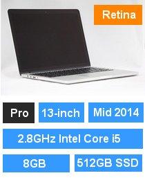 MacBook Pro (Retina・13-inch・Mid 2014) プロセッサ:2.8GHz Intel Core i5/メモリ:8GB/ストレージ:512GB SSD (MGX92J/A)