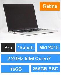 MacBook Pro (Retina・15-inch・Mid 2015) プロセッサ:2.2GHz Intel Core i7/メモリ:16GB/ストレージ:256GB SSD (MJLQ2J/A)
