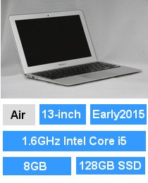 MacBook Air (13-inch・Early 2015) プロセッサ:1.6GHz Intel Core i5/メモリ:8GB/ストレージ:128GB SSD (MMGF2J/A)