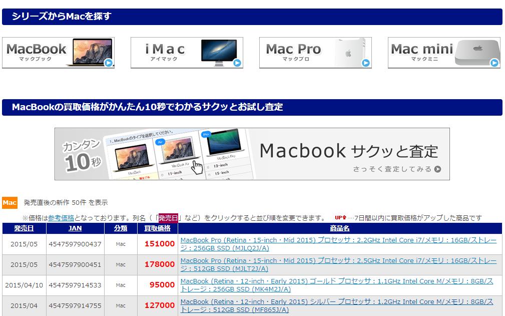 デスクトップパソコン買取価格表