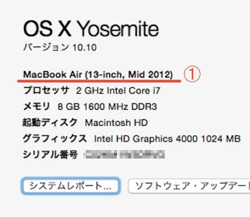 MacBookモデルの調べ方